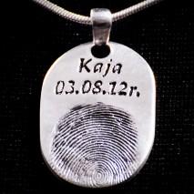 Średni owal srebro 999 odcisk palca + imię