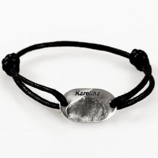 Bransoletka męska srebrna z odciskiem palca w srebrze.